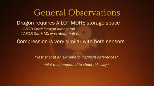 Red Epic Dragon vs Red Epic MX: Compression Test: Observations
