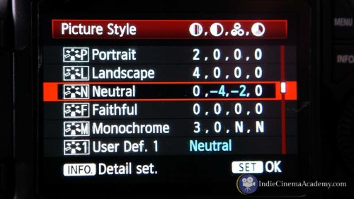 Camera profile settings