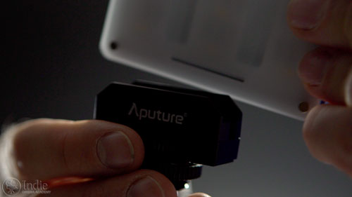 Aputure M9 comes with a cold-shoe clamp