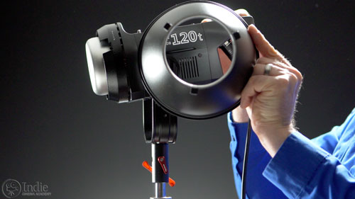 The reflector on the Aputure COB 120t mounts with a Bowens-S mount