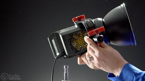 Easy to mount the Aputure COB 120t to a light stand or C-stand
