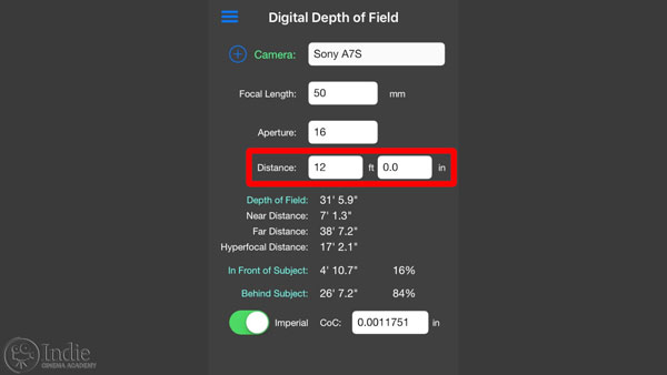 Depth of Field Calculator: setting distance