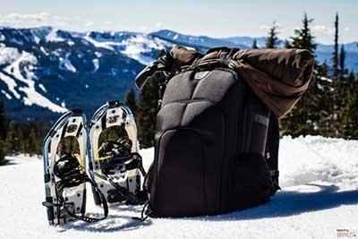 Tenba backpack with snowshoes -- Indie Cinema Academy