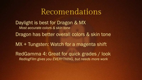 Red Epic Dragon vs Red Epic MX: Color Test: Recommendations