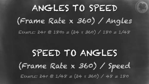 Shutter Angle to Shutter Speed Equation