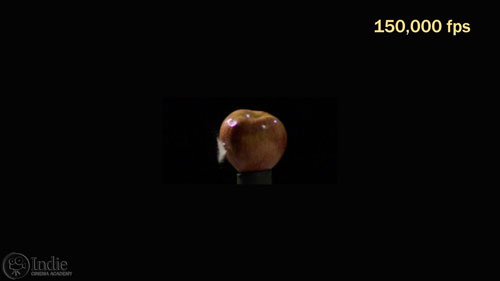 A bullet through apple at 150,000 fps requires a lot of light (CS005)