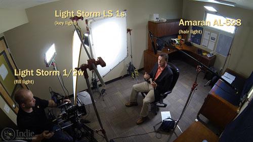 Aputure LED lights used on set
