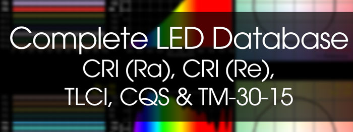 LED Database: CRI (Ra), CRI (Re), TLCI, CQS, and TM-30-15